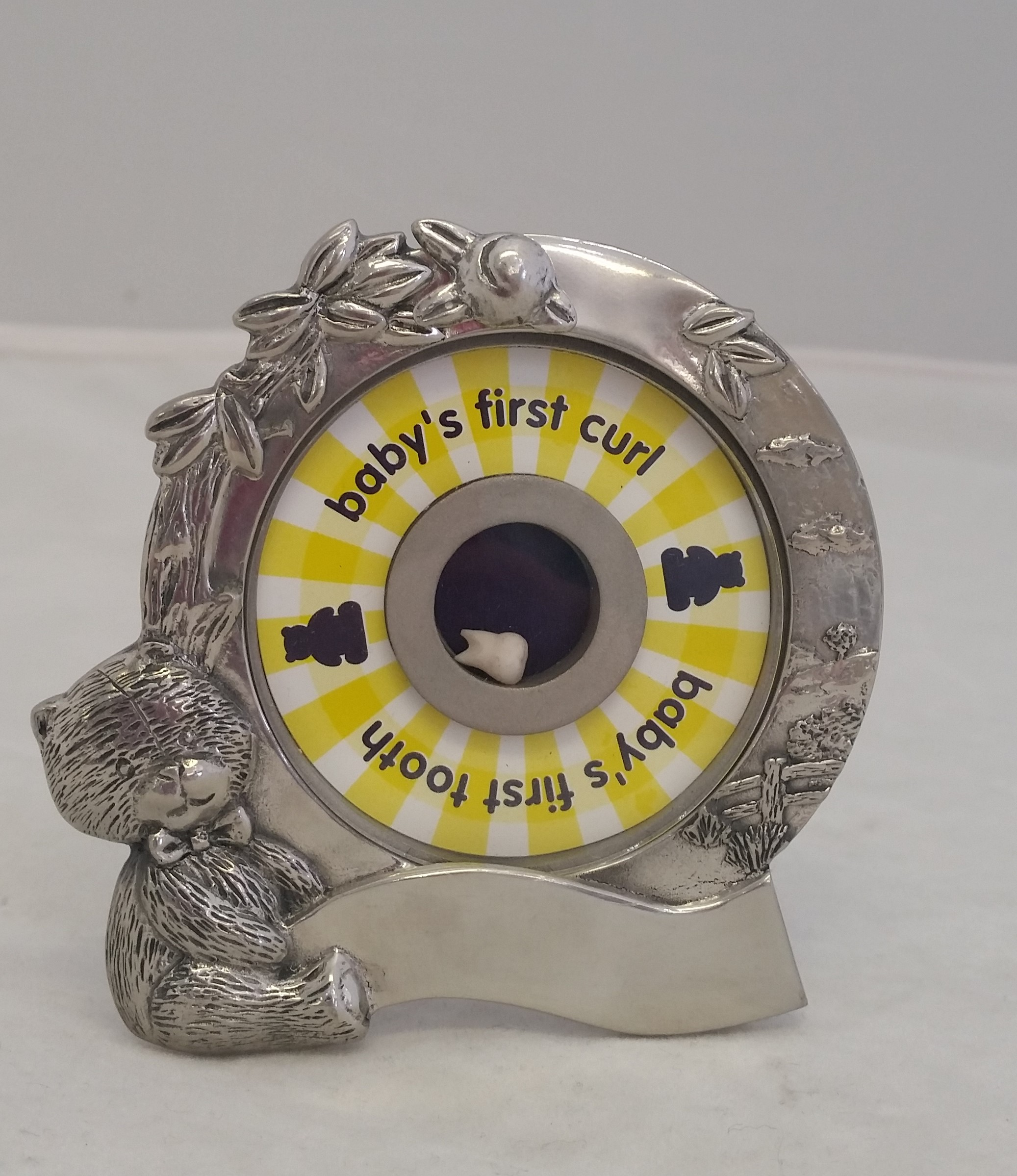 Royal Selangor - 'Pewter Teddy Bear's Picnic' - Baby's 1st Tooth & Curl Frame