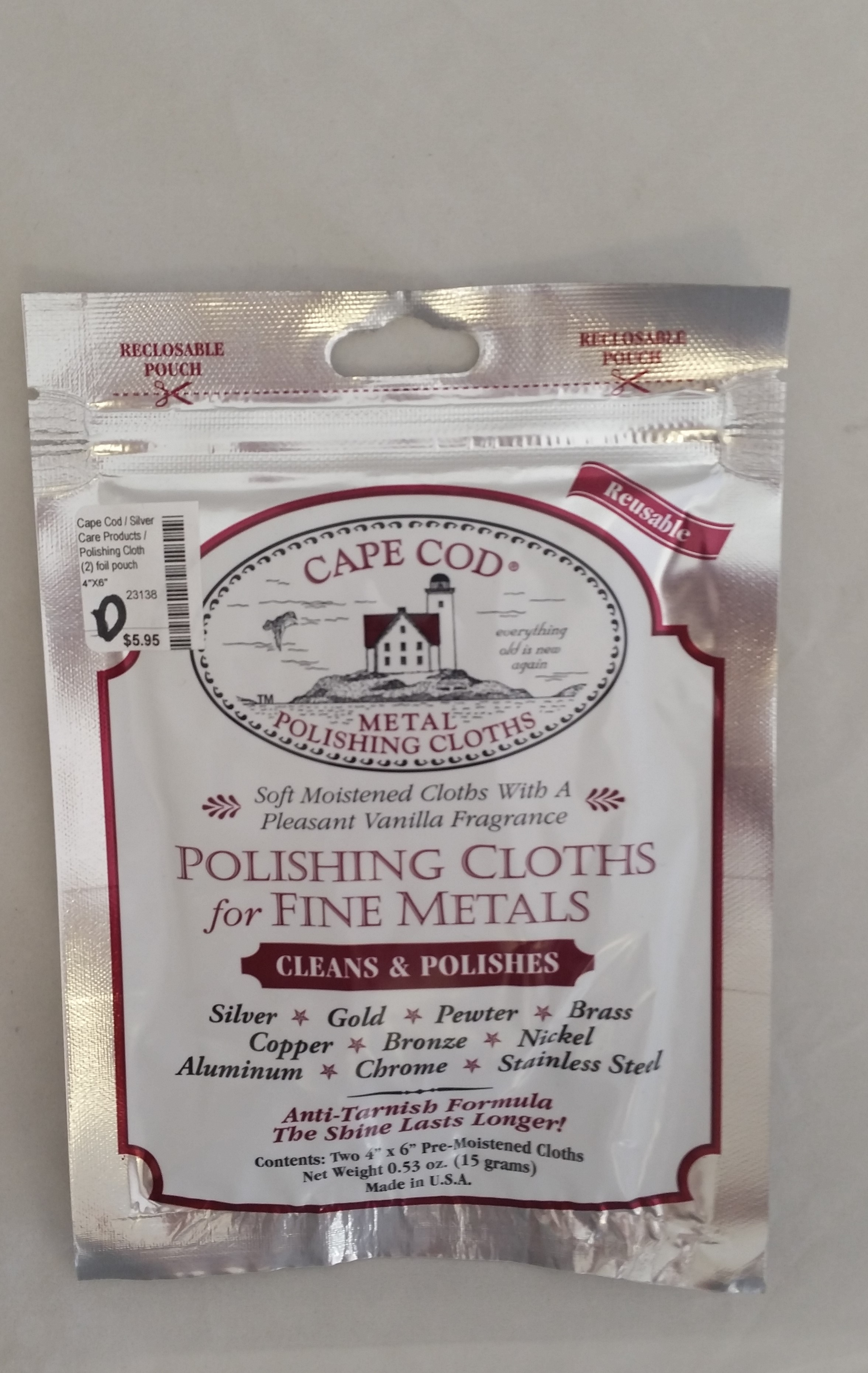 Cape Cod - 'Silver Care Products' - Polishing Cloth (2) foil pouch