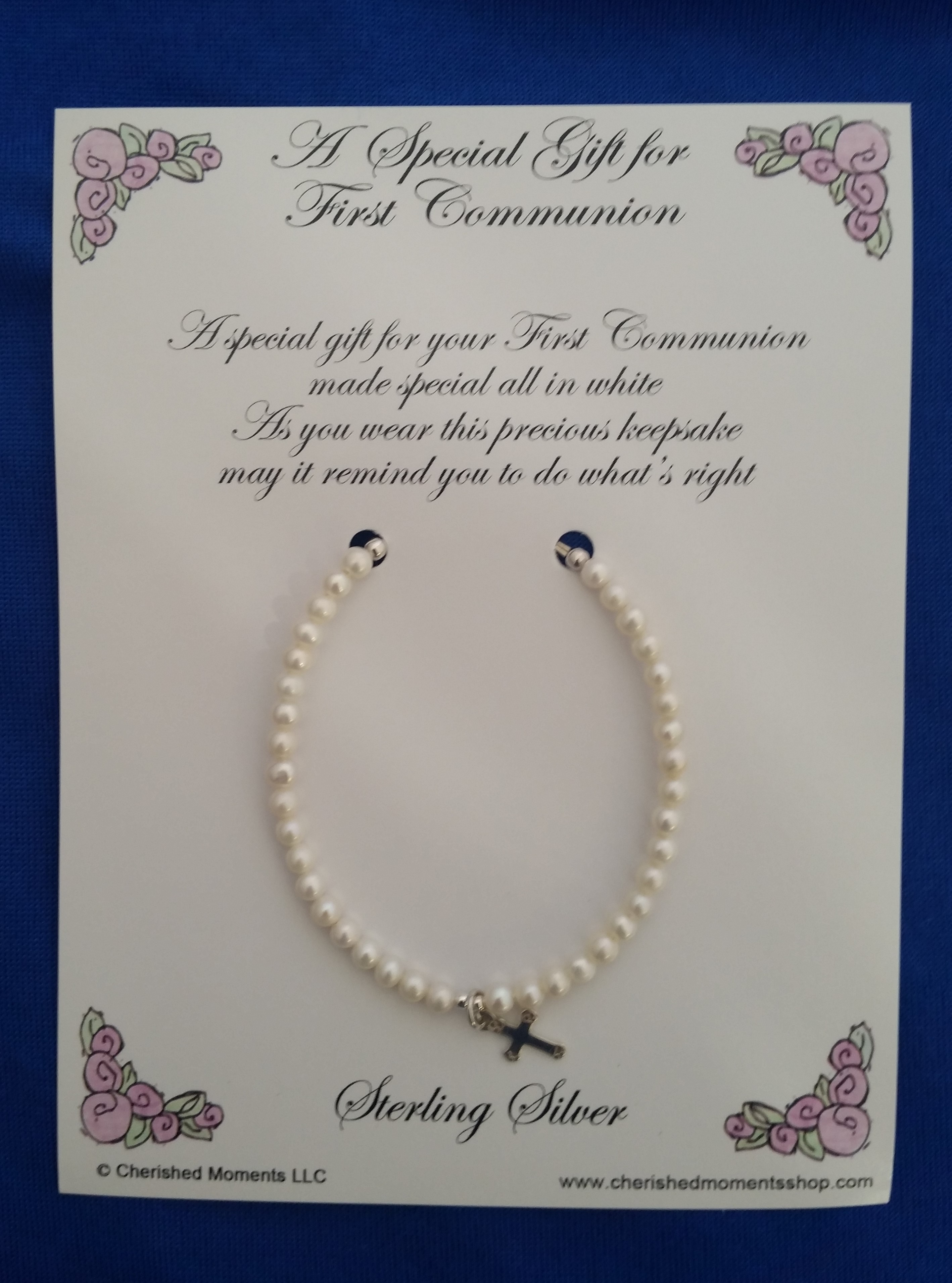Cherished Moments - 'Baby Jewelry' - Bracelet-1st Com.Lacey Pearls-cross