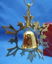 Reed & Barton Silver Plate - 'Xmas Ornament' - Snowflake Ball gold plated 1985