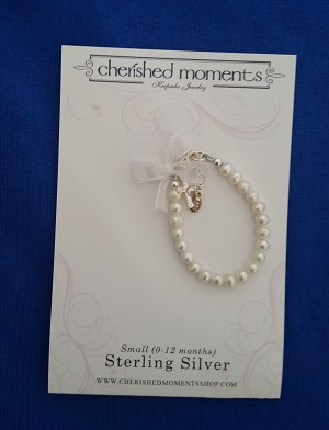 Cherished Moments - 'Baby Jewelry' - Bracelet-Lacey-pearls w/cross