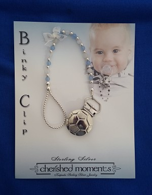 Cherished Moments - 'Baby Jewelry' - Binky Clip-Jacob-Wht-Jade/MT Blue